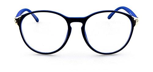 Flowertree Unisex S2166 Plastic Frame Metal Engraved Detail Round 55mm Eyeglasses - Blue Eyeglass Frames Plastic