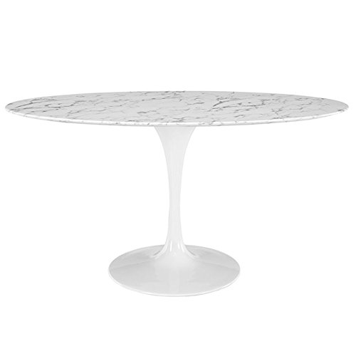 """Modway Lippa 60"""" Oval-Shaped Artificial Marble Dining Table in White"""