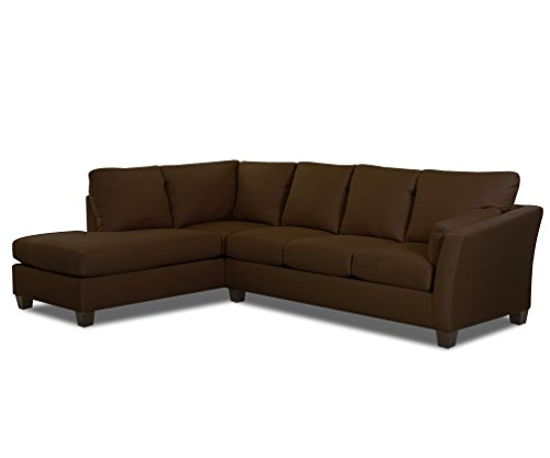 Klaussner E16 Drew Sectional Right Sofa/ Left Chaise, Chocolate
