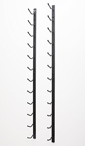 VintageView WS81 8-Foot 24 Bottle Metal Wall Mounted Wine Rack in Satin Black (1 Row Deep) by Wine Racks America