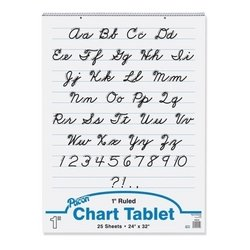 Pacon Corporation Chart Tablet, Cursive Cover, 1'' Ruled, 24''x32'', 25 Sh, WE