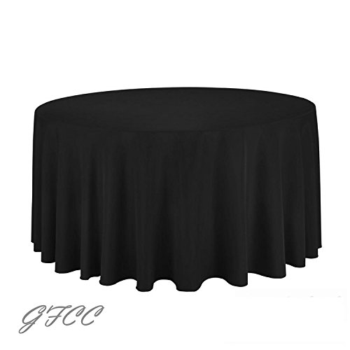 GFCC 72-Inch Black Round Polyester Tablecloth 100% Polyester Table Cloth Wedding Party Birthday Supplies Banquet Decoration (Centerpiece Size For 72 Inch Round Table)