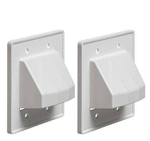iMBAPrice - CE2-2 Recessed Low Voltage Cable Plate, 2-Gang, White, 2-Pack (Made in USA)
