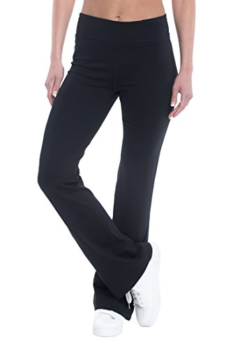 Price comparison product image Gaiam Om Yoga Pant Women's High Waist Supportive Full Length Bootcut Athletic Compression Bottom - Black Tap, 3X