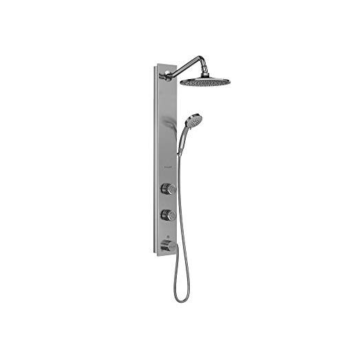 """PULSE ShowerSpas 1021-SSB Aloha System with 8"""" Rain Showerhead, 2 Pulsating Body Spray Jets and Hand Shower, Brushed Stainless Steel with Chrome Fixtures"""