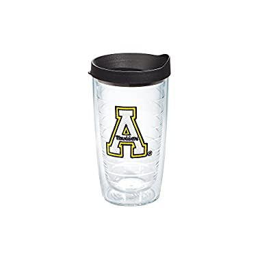 Tervis 1063931 Appalachian State University Emblem Individual Tumbler with Black lid, 16 oz, Clear