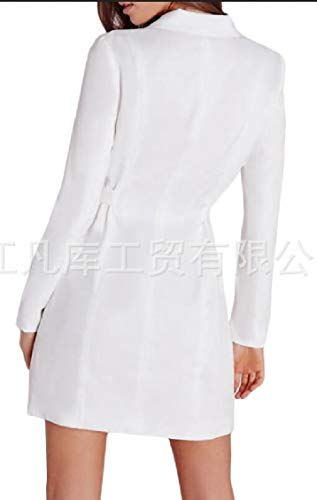Solid Womens Blazer Sleeve Long Dress Sexy Belt with Neck V Jaycargogo White q50wXdCq