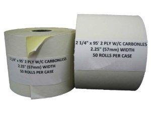 50 Rolls of 2 Part Paper Receipt Tape for Hypercom T7P, T7P-F, T7PRA, T7PRC, T7PRR, and T1E Credit Card Terminals