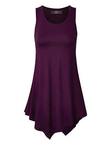 Made By Johnny MBJ WT671 Womens Handkerchief Hem Tank Tunic Top M Dark_Purple ()