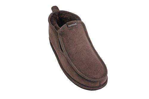 Rusnak Hommes En Peau De Mouton Luxe Mocassin Pantoufles Bottes Maison Chaussures Doublure En Laine Chaude Marron