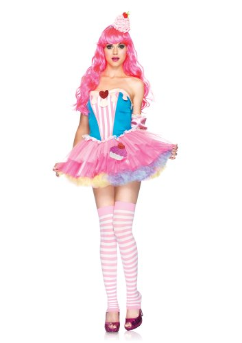 Leg Avenue 4 Piece Sugar And Spice Cupcake Dress With Arm Puffs And Frosting Headband, Blue/Pink, (Sugar And Spice Costumes)