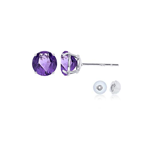(Genuine 14K Solid White Gold 4mm Round Natural Purple Amethyst February Birthstone Stud Earrings)