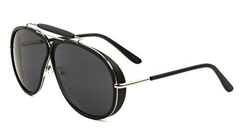 Oversized Outdoorsman Aviator Sunglasses w/ Brow Bar & Side Shields (Black & Silver Frame, Black Super - Shields Aviator Leather Sunglasses Side