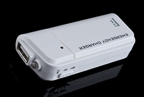 Takes 2 AA Batteries WHITE Portable AA Battery Emergency Travel Charger compatible with Samsung Galaxy A10e is also a Re-Charger with LED Light!
