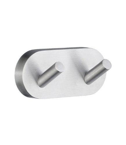 Smedbo Home Double Towel Hook HS356 Brushed Chrome.Include Glue.Fixing Without Drilling
