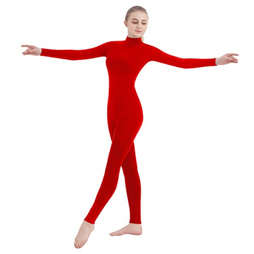 Unisex Turtleneck Footless Lycra Spandex Long Sleeve Unitard (Large, Red)]()
