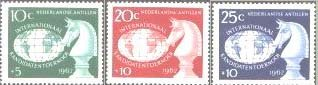 Chess Stamps from Netherlands Antilles Scott #s B55, B56, B57 MNH issued 1962 for International Chess Tournament in Curacao