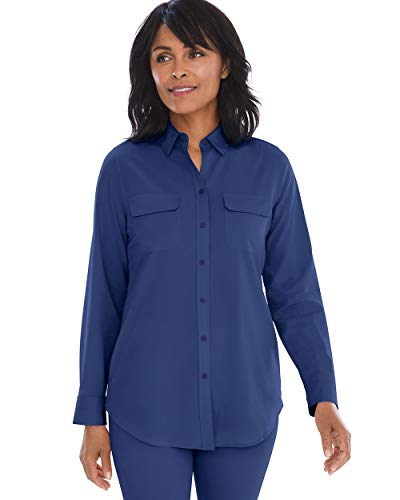 Chico's Women's Silky Soft Shirt Size 8/10 M (1) Blue