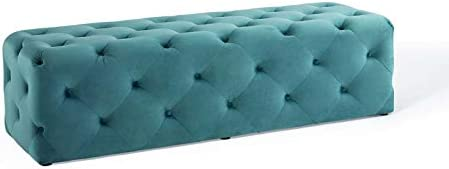 Modway Amour Tufted Performance Velvet 60 Upholstered Entryway Bench in Sea Blue