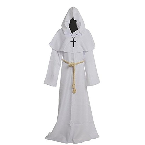 Probeauty Medieval Priest Monk Robe Halloween Cosplay Costume Hoodie Cloak for for Wizard Sorcerer (L-Large, -