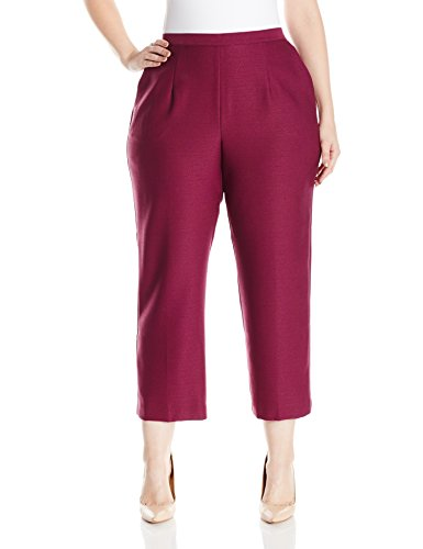 Alfred Dunner Women's Plus Size Pull-On Short Pant, Wine, 18W
