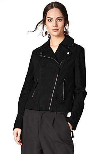 Escalier Women's Genuine Leather Jacket Suede Moto Biker Coat Black L