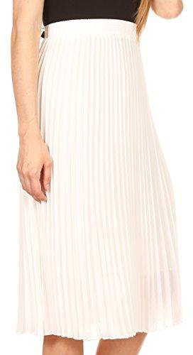 und Pleated Rock mit Sakkas Bianca Casual Taille elastischer Mid Futter Weiß OwqwU8x7