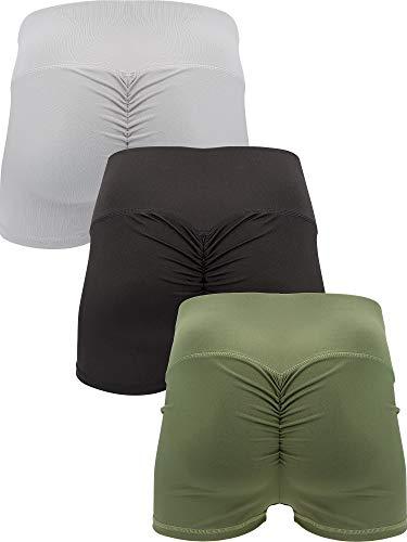 SATINIOR 3 Pieces High Waisted Shorts Pants Yoga Short Leggings Shorts Butt Lifting Leggings Short Yoga Pants (L)