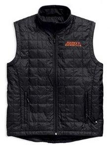 Heated Nylon Vest - Harley-Davidson Men's Stimulate Heated Vest Jacket 7 Volt. 98557-15VM (XX-Large) Black/Orange Size 2XL