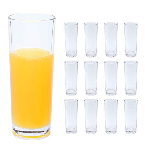 copdrel Highball Glasses Set of 12, Clear Base Tall Bar Drinking Cups 9oz(265ML), Drinking Glasses For Water, Juice…