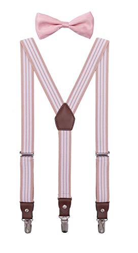 ORSKY Toddler Boys' Bow Tie and Suspenders Adjustable Elastic 24 Inches Blush White Stripe