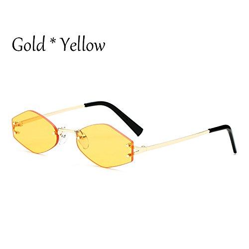 G De C5 Lens C1 Lente Moda Tonos Cuadrado Pequeño Uv354 Gafas Yellow Negra TIANLIANG04 Sol Reborde Señoras Gafas 1Hnq1Av