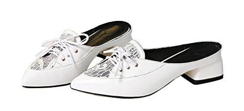 Calaier Mujer Cahardly Bloquear 3CM Cuero Ponerse Zuecos Zapatos Blanco