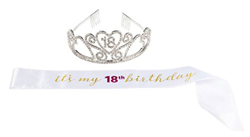Happy Birthday Tiara and Sash Set - Rhinestone Queen Tiara with It's My 18th Birthday Satin Sash Decoration for 18th Birthday]()