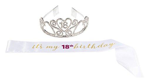 Happy Birthday Tiara and Sash Set – Rhinestone Queen Tiara with It's My 18th Birthday Satin Sash Decoration for 18th Birthday