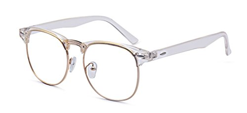 Outray Vintage Retro Classic Half Frame Horn Rimmed Clear Lens Glasses 2135c5 Transparent