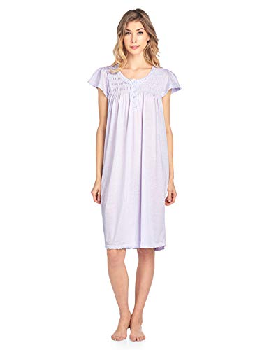 (Casual Nights Women's Short Sleeve Smocked and Lace Nightgown - Purple - XX-Large)