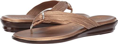- ITALIAN Shoemakers Womens Aleena Criss Cross Fashion Sandals Made in Italy,Bronze,10