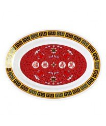Thunder Group Peacock Collection 12-Pack 44-Ounce Deep Platter, 13 by 9-3/4-Inch, Melamine, Red ()
