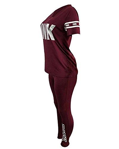 Impresión Tomwell Fitness Rojo De Yoga Conjunto Pantalones 2 Mujer Deportiva Tops Carta Leggings Camisa Chandal Corta Moda Manga Piezas TwUITxXrq