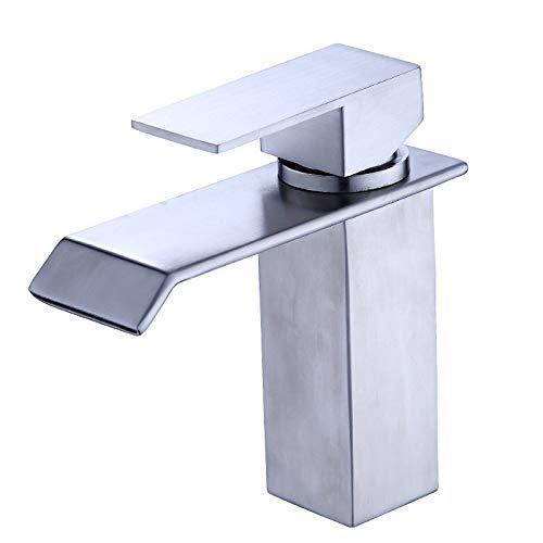 CFHJN HOME Taps Stainless Steel Waterfall Water Outlet Oblique Mouth Curved Hot And Cold Basin Faucet Mixing Valve Single Hole