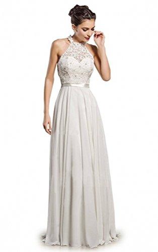 7193c9fa5be MythLove Women s Long A-Line High Neckline Lace Appliques Simple Bodice  Beach Wedding Dress White 16