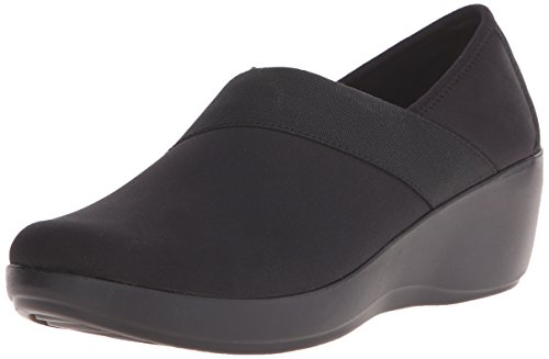 Crocs Women's Busy Day Stretch Asymmetrical Wedge Flat, Black/Black, 10 M US by Crocs