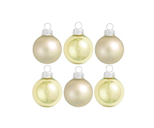 Glass Ball Gold Light (Northlight 6 Count Matte and Pearl Light Gold Glass Ball Christmas Ornaments, 2.5