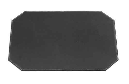 Dacasso Cut Corner Black Leatherette Placemat, 17-Inch by 12-Inch
