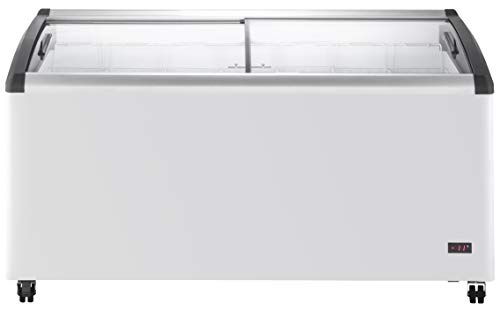 Chef's Exclusive Commercial Mobile Ice Cream Display Chest Freezer Curved Sliding Glass Lids Frost Free Sub Zero with 7 Wire Baskets, 63.4 Inch Wide, White