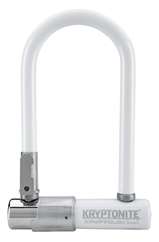 Kryptonite Kryptolok Series 2 Mini Heavy Duty Bicycle U Lock Bike Lock with Transit FlexFrame Bracket, 3.25 x 7-Inch (White)