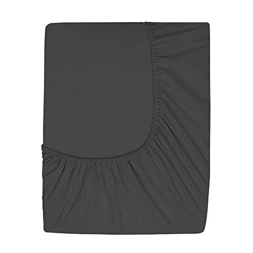 Prime Deep Pocket Fitted Sheet - Brushed Velvety Microfiber - Breathable, Extra Soft and Comfortable - Winkle, Fade, Stain Resistant (Black, Queen) (Sheets Air Mattress)