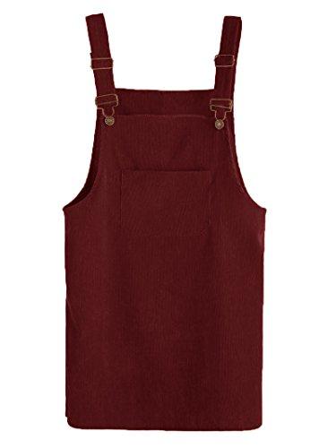 MAKEMECHIC Women's Bid Strap Pocket Dungaree Mini Overall Dress Burgundy# -