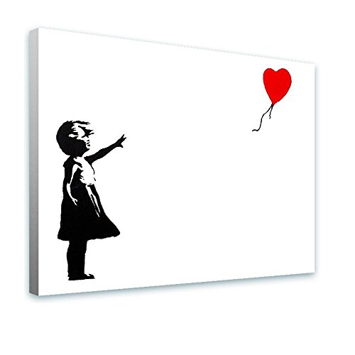 - Alonline Art - Balloon Girl Banksy Framed Stretched Canvas (100% Cotton) Gallery Wrapped - Ready to Hang | 39